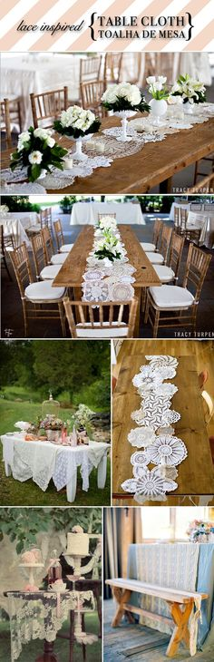 using old doilies as scrunch or table runners or under center pieces