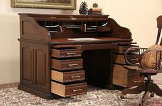 Oak-Victorian-Antique-Roll-Top-Desk-Raised-Panels-Leather-Top-Signed-Andrews
