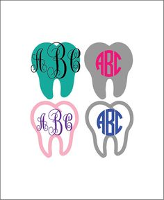 Tooth monogram decal, dentist monogram yeti decal, dental assistant rambler tumbler sticker, tooth fairy decal, dental student gift