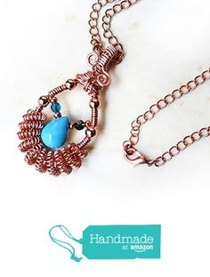 Genuine Turquoise Teardrop Wire Wrapped Handmade Pendant Necklace - Blue Turquoise & Rose Gold Copper Artisan Gemstone Jewelry - Birthday, Mother's Day Gift, Rustic, Boho OOAK Gift for Women from Rhonda Chase Design https://www.amazon.com/dp/B06XJCK9TW/ref=hnd_sw_r_pi_dp_EYk1ybD9EB0H8 #handmadeatamazon