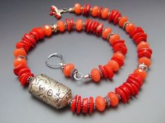 Tibet Metal Repousse Beads Necklace w Red Coral  by mshafran, $229.99