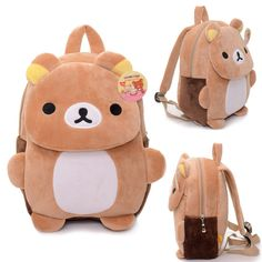 Cheap plush backpack, Buy Quality rilakkuma plush backpack directly from China plush cartoon backpack Suppliers: Cartoon Children's Backpacks Kids Zoo Animal Rilakkuma Plush Lovely Backpack Baby Plush Children Bag for Old Animal Backpacks, Boys Backpacks, School Backpacks, Kawaii Bags, Kawaii Shop, Softies, Plushies, Kids Zoo, Kawaii Accessories
