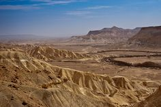 view from David Ben Gurion's grave site towards the Zin valley and stream, The Negev desert, Israel