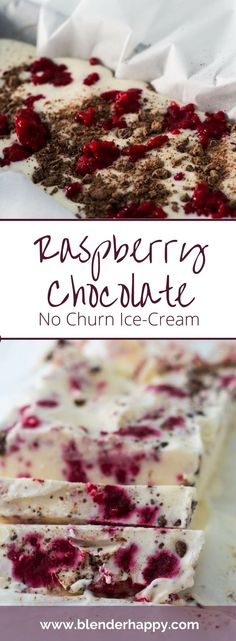 If you like the tartness of raspberries and the sweetness of chocolate you will love this easy to make (and even easier to enjoy) raspberry chocolate no churn ice cream. Raspberries and chocolate chunks are combined in a creamy vanilla base that is made w