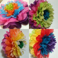 7 Fiesta Tissue paper flower pom by JJsFunNCreativeShop on Etsy