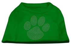 Mirage cat Products Clear Rhinestone Paw Shirt, Small, Emerald Green * Review more details here : Cat Apparel