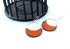 Small Pinned Hoop Earrings in Orange  Sterling Silver by rubygirl