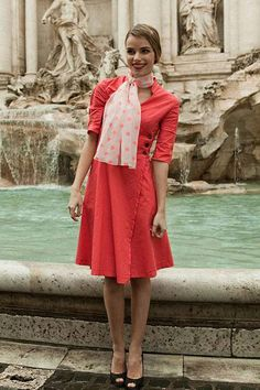 Shop for beautiful coral double breasted wrap dresses with elbow length half sleeves online at Shabby Apple. Find vintage and retro style modest clothing for women in all colors, sizes, fabrics and styles!