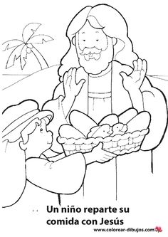 jesus feeds the 5000 coloring page - Google Search | BIBLE: JESUS ...