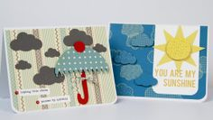 These card ideas from designer Katrina Simeck are sure to bring a smile to someone's face. Katrina used the new Fiskars and Jenni Bowlin punches to make rays of sunshine and an umbrella.