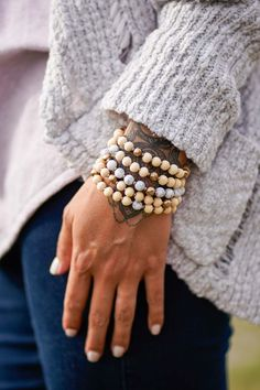 A Three Bird Nest Exclusive What more do you need to complete your outfit than with these multi assorted beaded bracelet set. 5 strands of unique beads to elevate your accessory game. *Elastic, wood beads and mixed metals