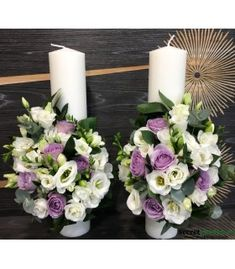 Lumanari nunta scurte trandafiri lila