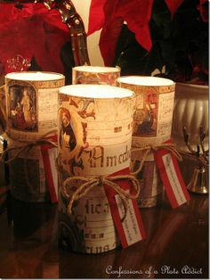 Easy to make Christmas candles with Dollar Store pillar holders and printed pictures!