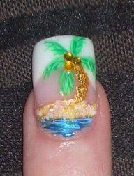 Embellished Palm Tree Nail Art/Summer style I think this would be cute as an accent nail. Love Nails, How To Do Nails, Pretty Nails, Fun Nails, French Nails, Nail Art Palmier, Nail Art Designs, Palm Tree Nail Art, Nails Decoradas