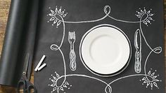 This fantastic chalkboard roll wrap has endless potential! Draw your own place settings, labels or patterns right on the paper with chalk. Use it to wrap gifts or as a table runner. Great for kids! Chalkboard Paper, Chalkboard Table, Chalkboard Drawings, Chalkboard Lettering, Paper Place, Chalk It Up, Paper Source, Brunch, Deco Table