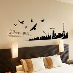 Alrens_DIY(TM) Paris Eiffel Tower Modern City Birds Love Beautiful Flight DIY Eco-friendly PVC Vinyl Bedroom Wall Sticker Removable Home Decoration Creative Art Décor Kids Nursery Room adesivo de parede Self-adhesive Mural Living Room Decorative Decal