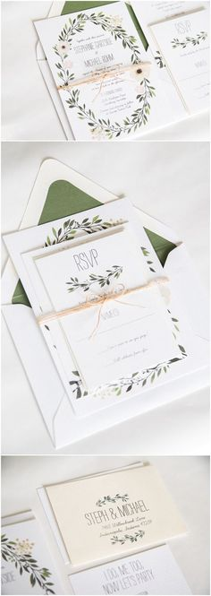 2017 Wedding Botanical Ideas to Decorate Your Big Day elegant green wedding invitations for 2017 trends Wedding Invitation Kits, Botanical Wedding Invitations, Vintage Wedding Invitations, Letterpress Wedding Invitations, 2017 Wedding Trends, Wedding News, Wedding Venues, Modern Wedding Stationery, Marie