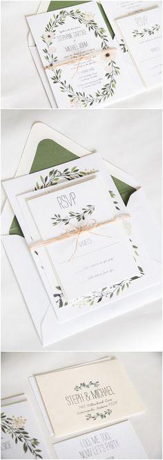 elegant green wedding invitations for 2017 trends