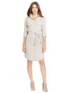 Wool Flannel Shirtdress - Lauren Short Dresses - RalphLauren.com
