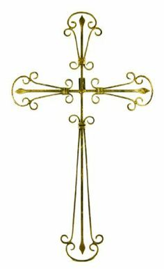 Wrought Iron Christian Cross Wall Hanging Gold Finish by Things2Die4. $19.99. This beautiful wrought iron cross wall hanging measures 22 1/4 inches tall, and 12 5/8 inches wide. Featuring wonderful styling, with distressed golden finish to give it an aged look, it looks great on any wall, and makes a great housewarming gift.