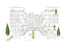 Social Housing Architecture, Office Building Architecture, Co Housing, Architecture Graphics, Concept Architecture, Sustainable Architecture, Architecture Design, Section Drawing, Residential Complex