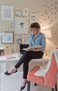 Polka-dotted and Cheerful Home Office