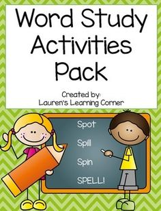 Ready to teach word study but lacking the materials needed to do so?  Well this pack is your answer!  It contains a variety of activities that can be used for word study.  There is no prep and they are ready to be printed and used right away!  These activities can be used all year long as your students word study words will change each week and they can practice their new words with these tasks and activities.