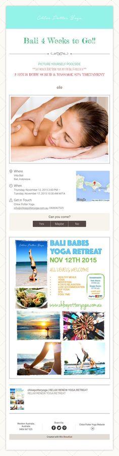 Bali 4 Weeks to Go!!