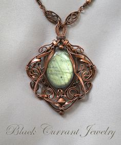 Light Green Glow - Labradorite and Copper Pendant by ...