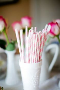 striped straws in milkglass