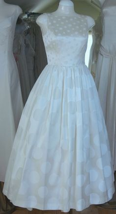50's style wedding dress, with Polka Dots