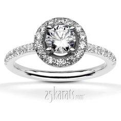 Pave Set Halo Engagement Ring