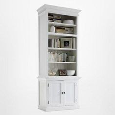 Halifax Slim Hutch Bookcase - White - Halifax - Dimensions : H : 220 cm W: 90 cm D : 40 cm Storage Shelves, Tall Cabinet Storage, Open Shelving Units, White Bookshelves, Bookcases, White Painted Furniture, Shaker Style Doors, Mahogany Color, D 40