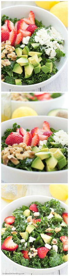 Strawberry Avocado Salad - Sweet strawberries, creamy avocado, toasty walnuts, tangy feta, and a honey-lemon vinaigrette will make this kale salad your new favorite!