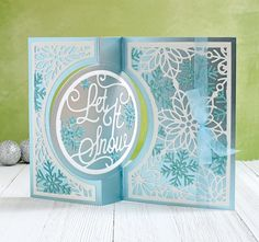 Created by Annie Williams using the Kinetic Dies by Crafters Companion Christmas Cards, Crafters Companion Gemini, Snowflake Cards, Shaped Cards, Embossed Cards, Die Cut Cards, Graduation Cards, Signature Collection, Folded Cards