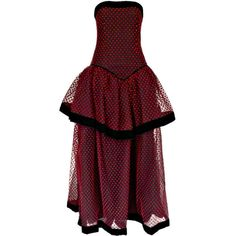 Preowned Christian Dior Strapless Red Polka Dot Velvet And Net Gown ($825) ❤ liked on Polyvore featuring dresses, gowns, gown, red, flare dress, polka dot dress, red velvet dress, red evening dresses and red ball gown
