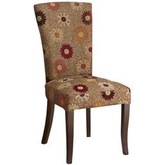 Classic Parsons, with an arched, slightly fanned back. Flocked daisies splashed across a lustrous field of gold, amply padded and tightly upholstered over a dark hardwood frame. All that, with a big helping of whimsy. Clearly, this is no garden-variety dining chair.