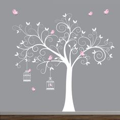 Tree Wall Decal, Birdcages with Birds Baby Room Decal Tree Wall Decal Tree with Birdcages Birds-Baby Wall by Modernwalls Bird Theme Nursery, Baby Room Decals, Bird Nest Craft, Tree Wall Decor, Baby Room Design, Wall Drawing, Bird Tree, Diy Wall, Wall Stickers