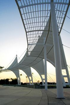 """The four fabric """"sails"""" of the convention center entry echo the sailboat masts and rigging in nearby Puerto Vallarta harbor. Photo courtesy of Lonas Lorenzo Arquitectura Textil."""