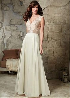 Elegant Lace & Silk-like Chiffon V-neck A-line Mother of The Bride Dress with Rhinestones