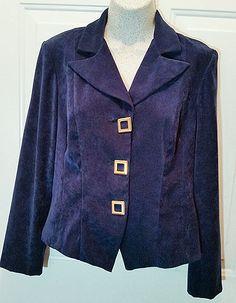 Womens Jessica Howard Petite S Lined Suit Jacket Navy Blue Faux Suede Blazer WB8…