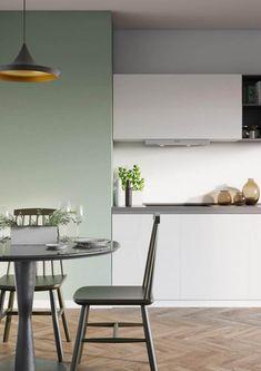 Farbige Wand Grün Minze Salbei Weiße Küche Essbereich