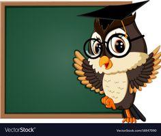 Owl teacher at blackboard Royalty Free Vector Image Cute Panda Drawing, Little Girl Cartoon, School Board Decoration, Owl Artwork, Owl Cartoon, Disney Background, Owl Pictures, Boy Cards, Preschool Learning Activities