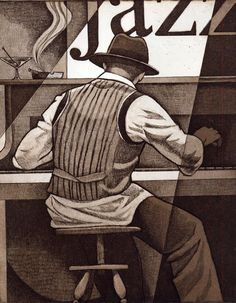 Ragtime was an original musical genre which enjoyed its peak popularity between 1897 and 1918. Led to Jazz. 'Ragtime' original etching by Artist Keith Mallett www.keithmallett.com