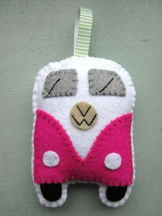 VW Campervan Hanging Ornament Toy Pink Plush VW by GracesFavours, £9.00