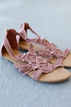 Mauvegladiator sandals feature crochet detailing with silver beads