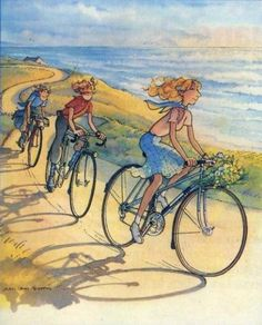 Peugeot bikes at the beach, circa 1980 Cycling Art, Cycling Bikes, Illustrations, Illustration Art, Bicycle Pictures, Bicycle Print, Bike Poster, Livingstone, Bike Art