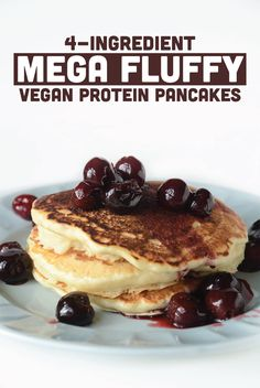 Mega Fluffy Vegan Protein Pancakes - serves 6 - 1 cup all-purpose flour ¼ cup organic brown rice protein powder (I use North Coast Naturals) 1 tbsp baking powder ½ tsp salt 2 tbsp maple syrup cup water Proteine Vegan, Vegan Foods, Vegan Dishes, Vegetarian Keto, Vegan Butter, Protein Pancakes Vegan, Protein Foods, Protein Powder Pancakes, Gluten Free Vegan Pancakes