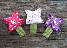 Polka Dotted Flower Snap Hair Clip Set - Baby Hair Bows - Infant Hair Clips - Free Shipping Promo. $5.50, via Etsy.