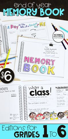 An End of the Year Memory Book designed in a fun and trendy doodly-journal style! 16+ unique pages, plus several cover options. Landscape and portrait versions included. Get the non-grade-specific version, or click through to find links to versions specific to 1st, 2nd, 3rd, 4th, 5th, or 6th grade. ($) Preschool At Home, Preschool Lessons, Class Meetings, School Classroom, Future Classroom, Classroom Ideas, First Grade Activities, Teaching Time, End Of School Year